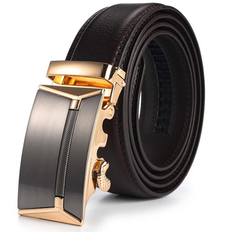 New Men Alloy Automatic Buckle Black Genuine Leather Waist Strap Belt Waistband