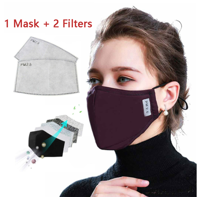 Cotton PM2.5 Black Dust Mask Anti-Pollution Mouth Mask Activated Carbon Filter Windbreaker Mouth-muffle Bacteria Flu-proof Masks 1