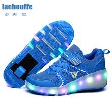 Детская обувь для мальчиков; роликовые коньки; Детские кроссовки с двойными колесами для мальчиков и девочек; дышащая сетка; Светодиодный свет; женская обувь