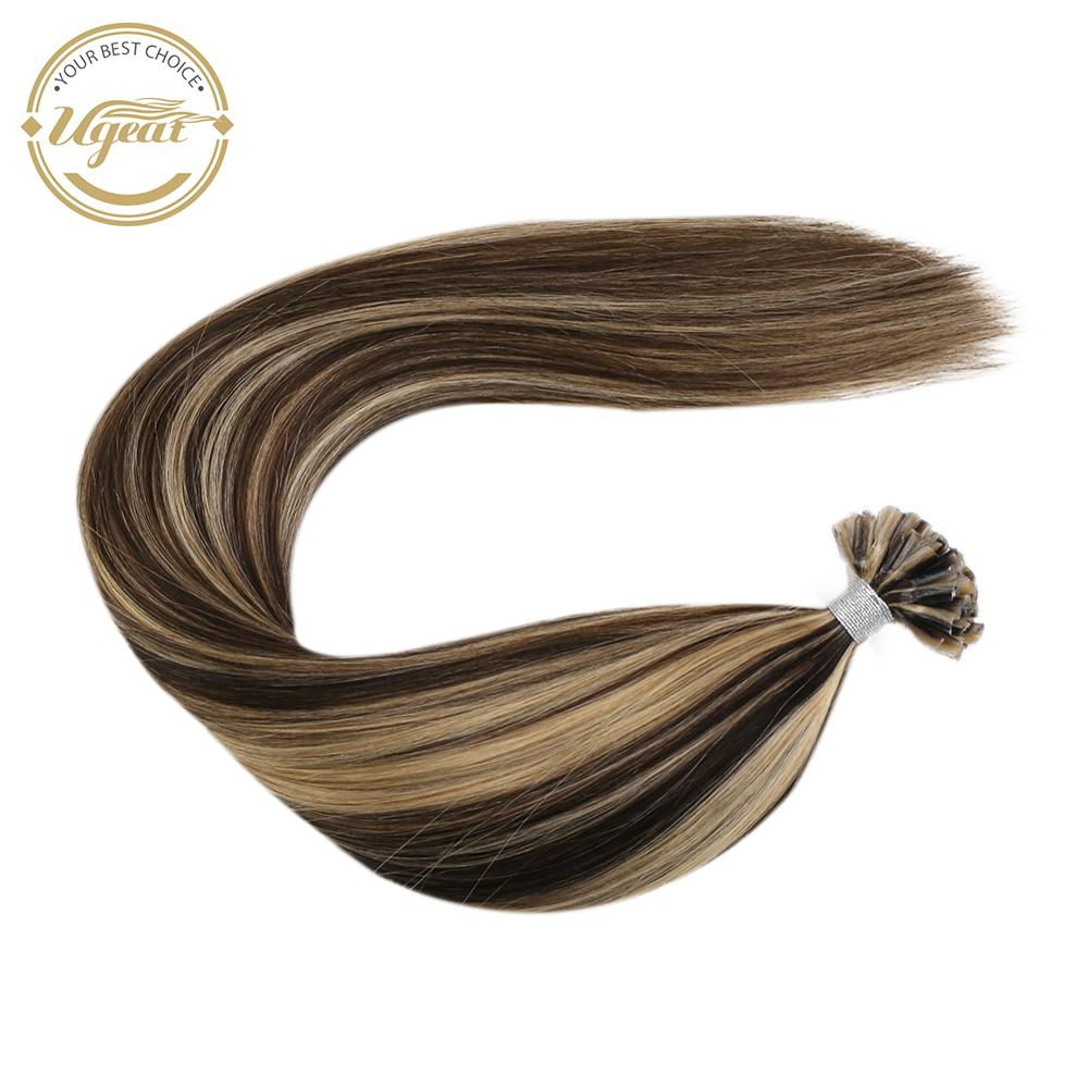 Ugeat Nail/U Tip Hair Extensions Brazilian Human Hair 14-24