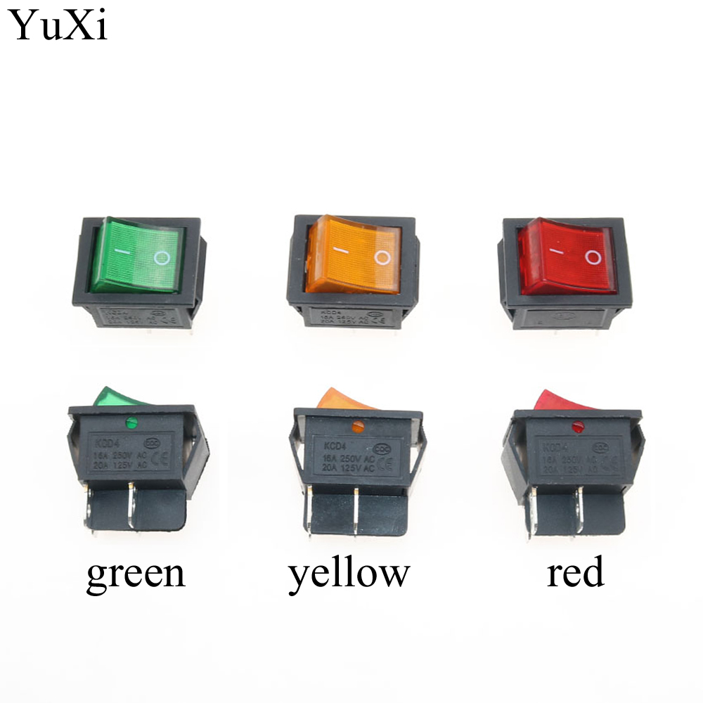YuXi Latching Rocker Switch Power Switch I/O ON OFF 2 Position 4 Pins with Light 16A 250VAC 20A 125VAC KCD4