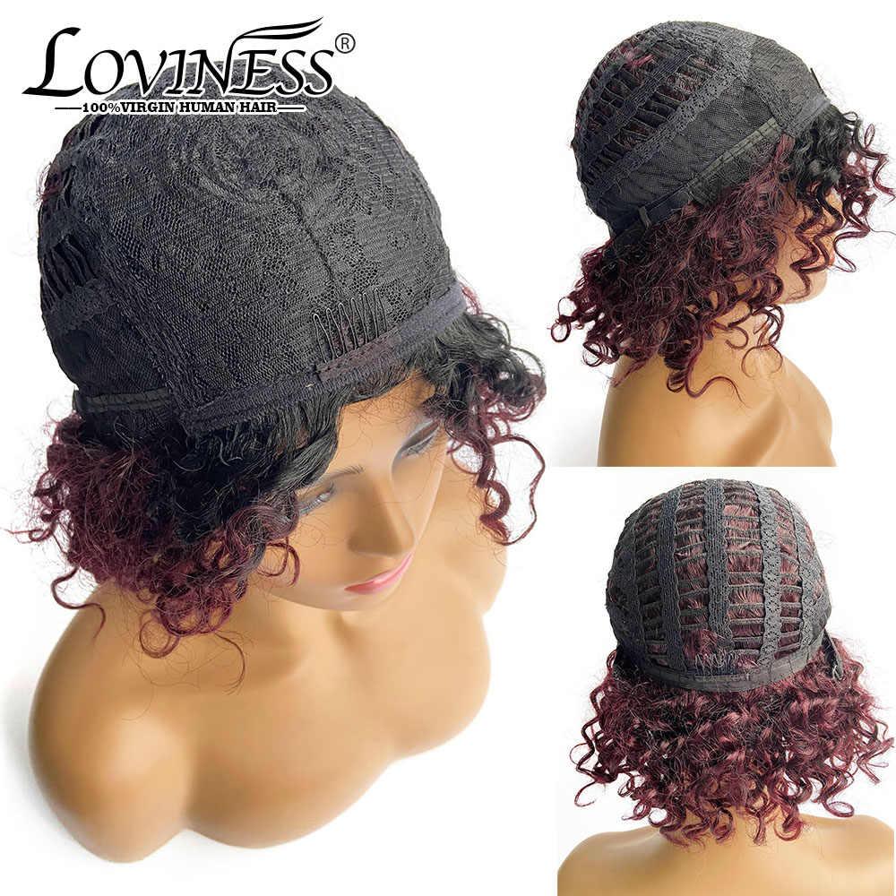 Ombre fryzura Pixie peruka z Bang ludzki włos krótki kręcone pełny przód peruka Remy zamknięcie blond czarny naturalny kolor tanie włosy dla kobiet
