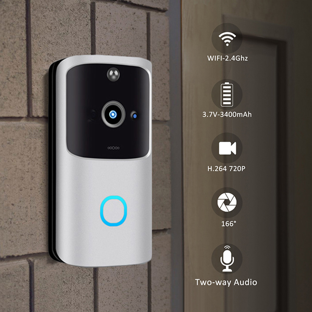 CARPRIE V5 Video Doorbell Smart Wireless WiFi Security Door Bell Visual Recording Home Monitor Night Vision Intercom Door Phone