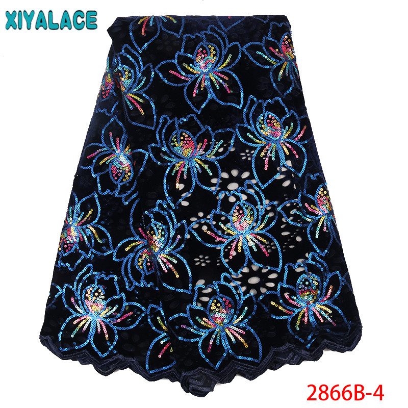 African Sequence Lace New,Hot Sale Velvet Sequins Lace Fabric,French Lace Fabric For Nigerian Dresses KS2866B-4