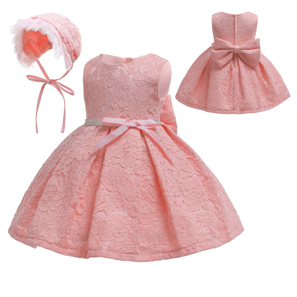 Hot Selling Babies' Dress Pink Princess Dress Lace A Year Of Age Hundred Days Photography Clothing