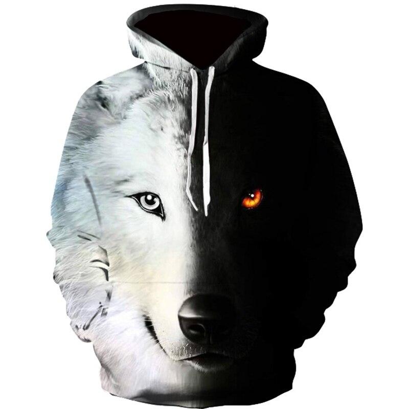 New Fashion Hoodies Men Long Sleeve Fashion Ice And Fire Eyes Wolf Printed Men Sweatshirt Streetwear Clothes Harajuku Hoodie