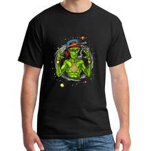 Print Alien Gangster Rapper Ufo Hip Hop Space tshirt 3xl 4xl 61xl humorous Patchwork Harajuku gents t-shirts(China)
