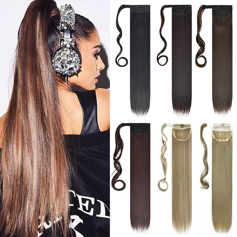 Kong&Li 22inch Long straight Real Natural Ponytail Clip in Pony tail Hair Extensions Wrap Around on Synthetic Hair Piece