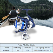 12   1BBs Spinning Reel Fishing 8000 Serises Super Suave 4.7: 1 Corpo De Metal cheia Carretel Bobinas Direita/Esquerda Carretel De Pesca para a Pesca