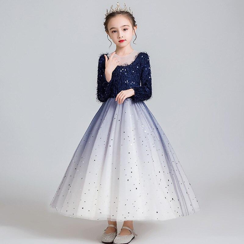 Élégant manches longues automne hiver étincelant petites filles robes de fleurs bébé princesse robe enfants fête vacances anniversaire Costume