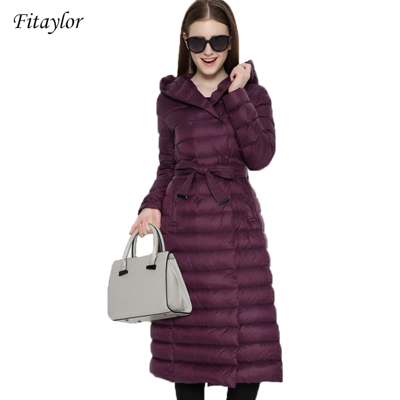 Fitaylor New Winter Women Ultra Light Duck   Down   Long   Coat   Single Breasted Plus Size Warm Snow Outwear Slim Hooded Parkas