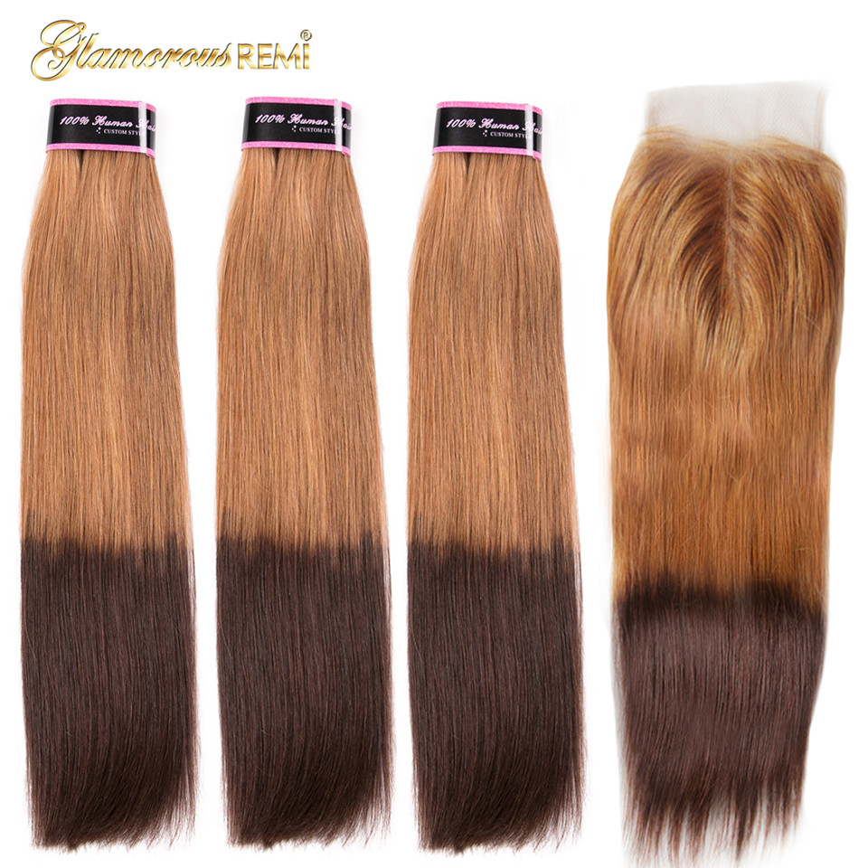 Glamorousremi Brazilian Straight Ombre Golden Brown T27/4 Human Hair Weave 3Bundles With Closure Long Remy Fumi Hair Extenions