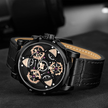 Fashion Watch Men Leather Strap Sport Rotating Dial Quartz Watches Mens Waterproof Clock Male Wrist watches Relojes Hombre paidu special turntable dial sport watches for men leather modern trendy casual unique student quartz watch fashion male clock