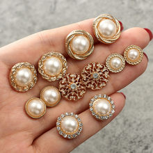 6 Pasang Mutiara Bulat Fashion Anting-Anting Berlian Bunga Wanita Anting-Anting Perhiasan Set untuk Wanita Elegan Pesta Hadiah Fashion Costum(China)