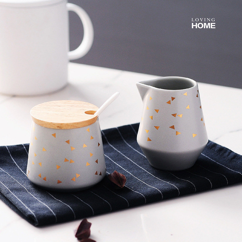 Nordic Brief Style Sugar Bowl And Creamer Pots With Wood Lid Cafe Home Coffeeware Candy Tank Miel Milk Jug Suikerpot Azucarero