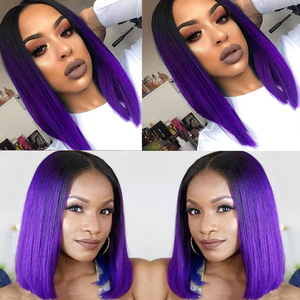 Image 4 - FAVE Ombre Black Purple/Blonde/Grey/Flax Brown/ Straight Synthetic Wig Shoulder Length Middle Part Cosplay For Womens Daily Wig