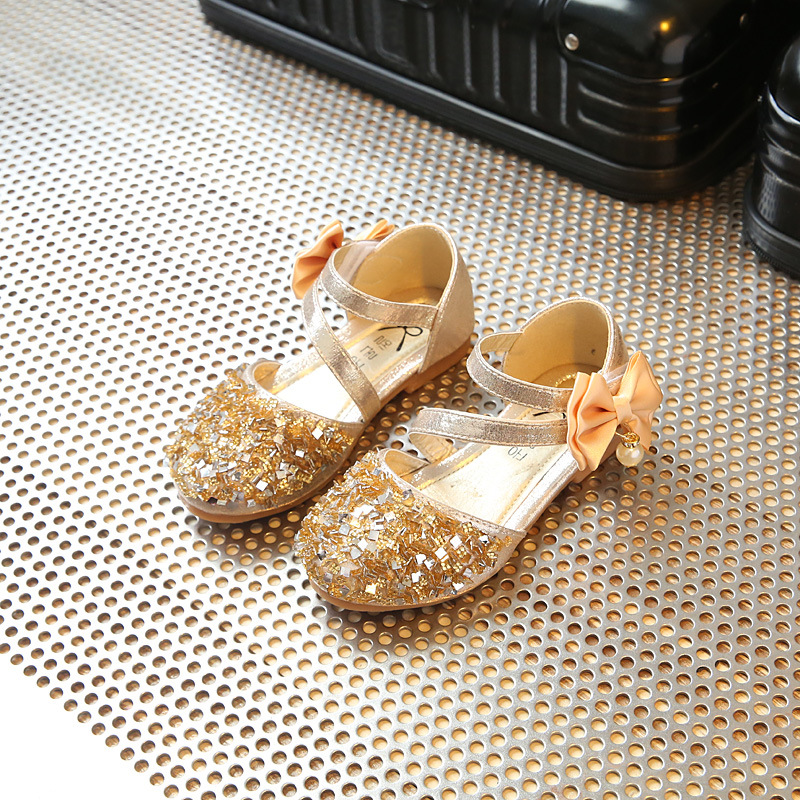 Sequin Girls Leather Princess Shoes 2019 Spring Autumn Children'S Shoes School Girl Bow Wedding Party Dance Shoe Gold 1-12 Years