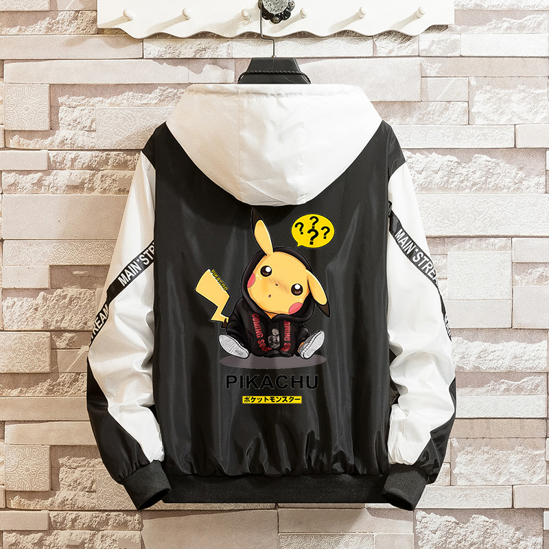 LES KOMAN Spring Autumn New Men Jacket Pokemon Pikachu Printing Casul Streetwear Hooded Splice Sports Coats  Outwear  S-5XL