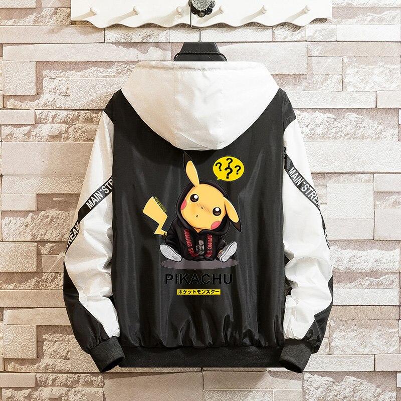 LES KOMAN Spring Autumn New Men Jacket Pokemon Pikachu Printing Casul Streetwear Hooded Splice Sports Coats  Outwear  S-5XL