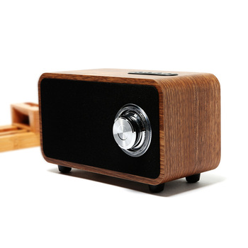 Home Desktop Wooden Bluetooth Speaker Simple Retro Wood Knob Volume Adjustment Bluetooth Audio Subwoofer Stereo Sound Box