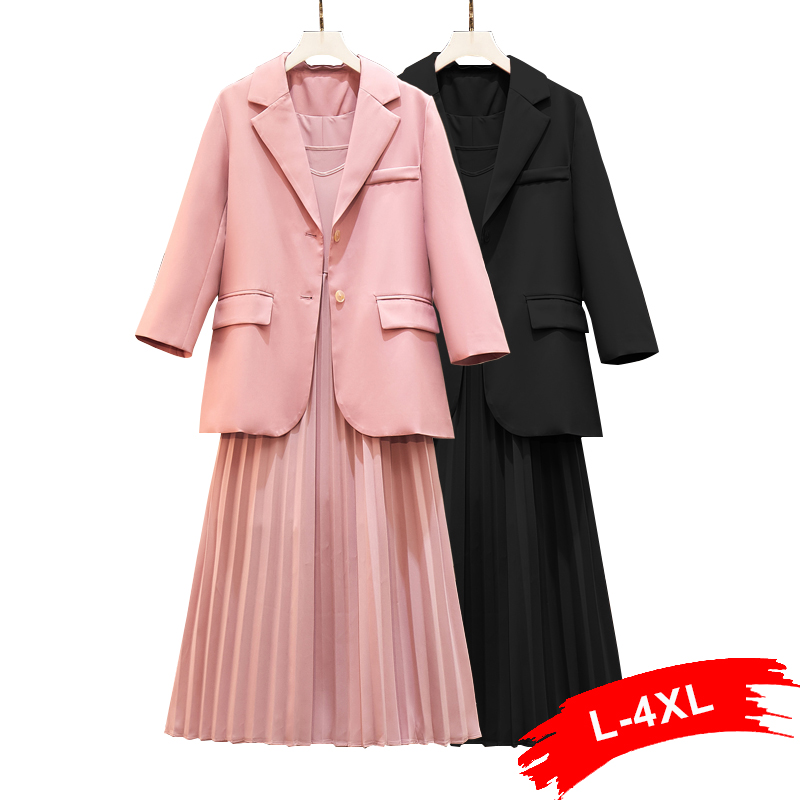 Women Plus Size Sweet Pink Casual Blazer Suit Pockets Single-Breasted 5Xl Office Wear With Pleated Dress Female Two Piece Set