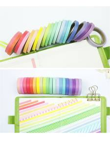 Stickers Masking Tape-Set Adhesive Paper Lace Washi Rainbow-Color Diary-Book 20pcs