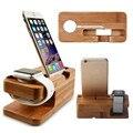 Деревянная зарядная док-станция  подставка под мобильный телефон  бамбуковая подставка под зарядное устройство для Apple Watch и iphone