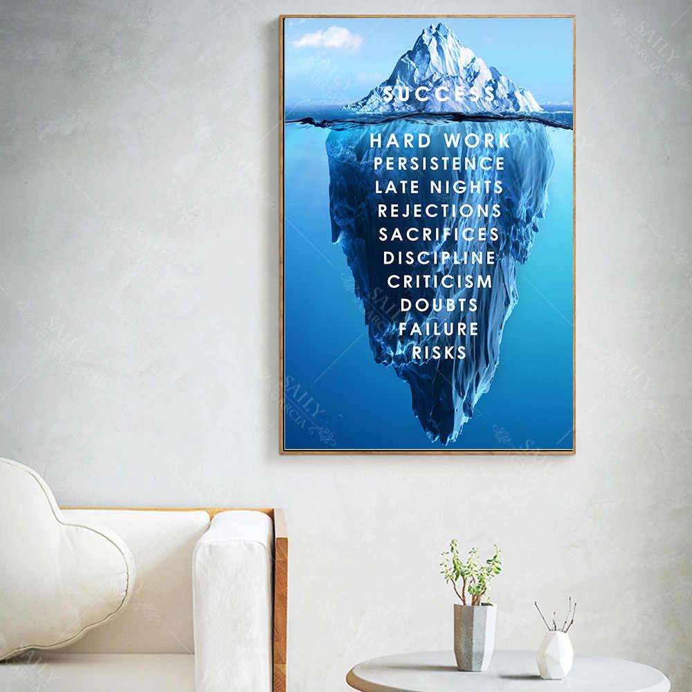 Gunung Es dari Sukses Kanvas Poster Pemandangan Motivasi Kanvas Dinding Seni Quote Nordic Cetak Dinding Gambar untuk Ruang Modern