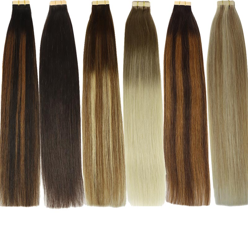 Remy Hair Straight Tape In Human Hair Extensions Seamless Invisible Natural Skin Weft Adhesive Extension Brown