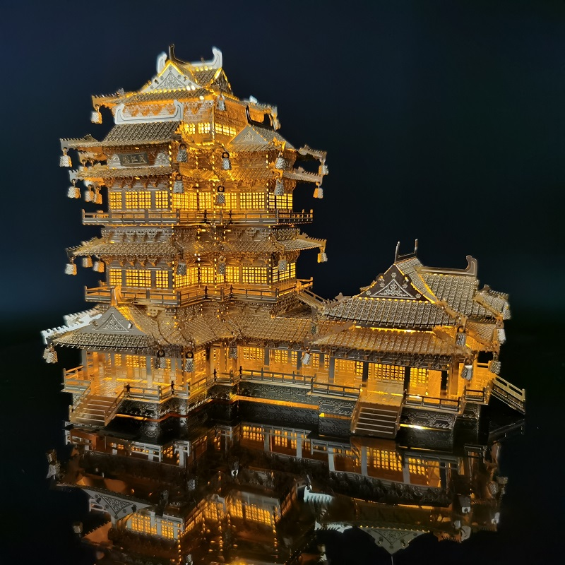 Архитектура 3D металлический пазл Yuejiang башня своими руками лазерная резка Сборная модель головоломки игрушки для океана Древние китайские ...