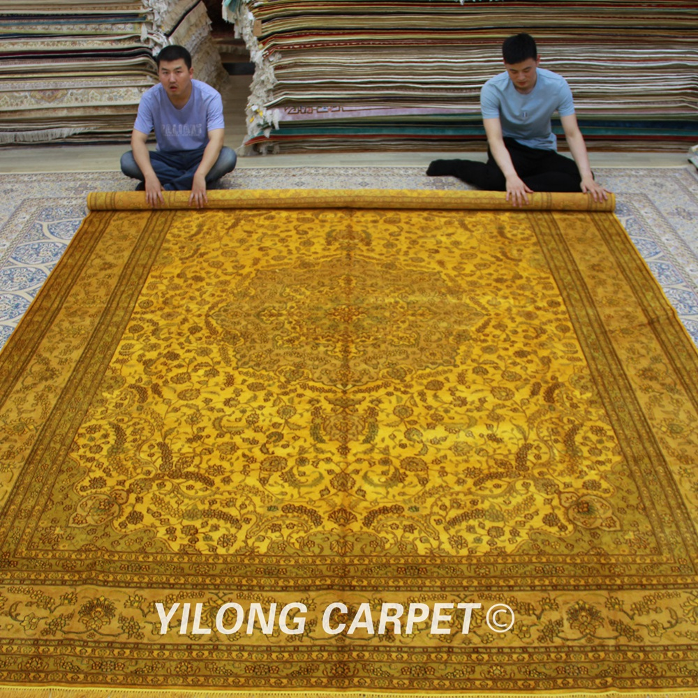 Yilong 9'x12' Antique Classic Rug Large Beige Medallion Vantage Handmade Silk Carpet (0898)