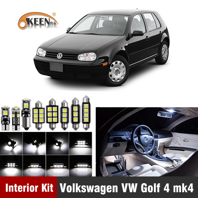 14Pcs For Volkswagen VW Golf 4 MK4 Led Bulb Car LED Interior Light Kit Error Free T10 W5W Dome Reading Map Lamp Car Accessories image