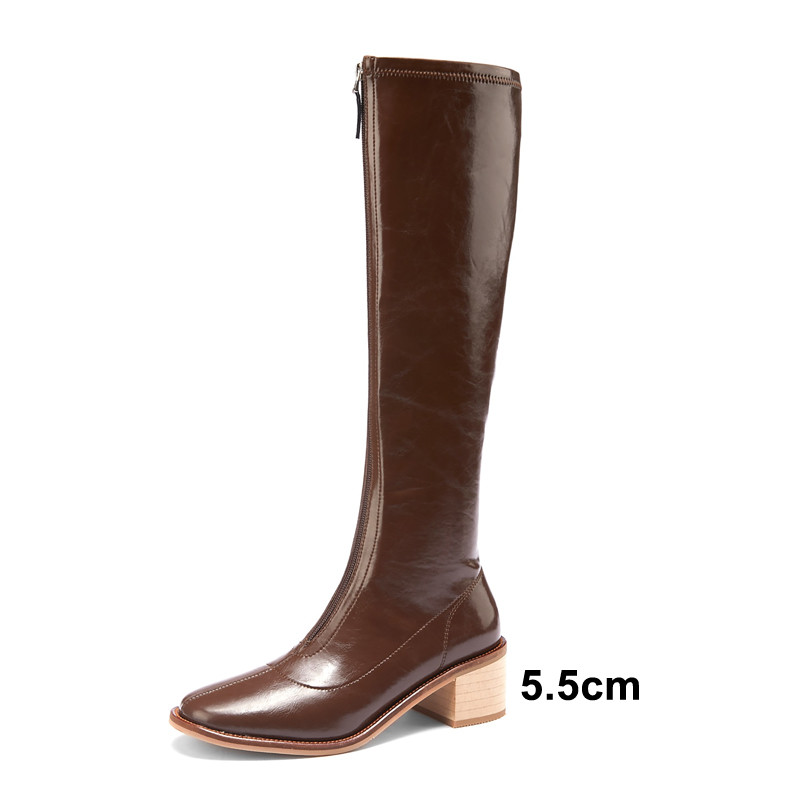 Meotina Knee High Boots Women Shoes Round Toe High Heel Long Boots Zipper Chunky Heels Female Boots Autumn Winter Beige 33-40
