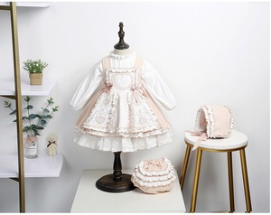Baby Girl Autumn Winter White Beige Vintage Spanish Lolita Ball Gown Princess Suspender Dress with Shirt for Birthyday Party