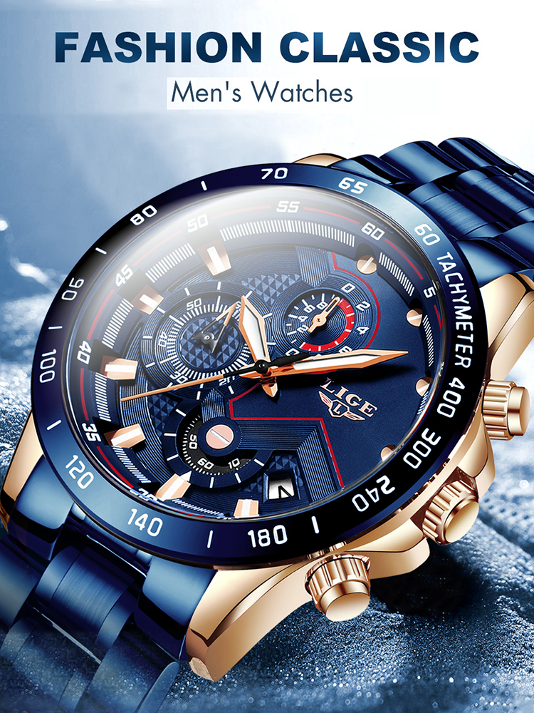 LIGE Men Watches Chronograph Military-Watch Stainless-Steel Blue Male Sport Waterproof