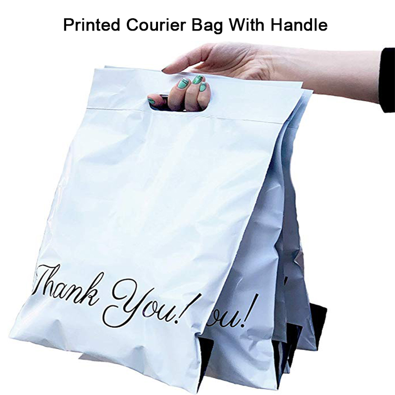 50pcs Printed Tote Bag Express Bag With Handle Courier Bag Self-Seal Adhesive Thick Waterproof Plastic Poly Envelope Mailing Bag