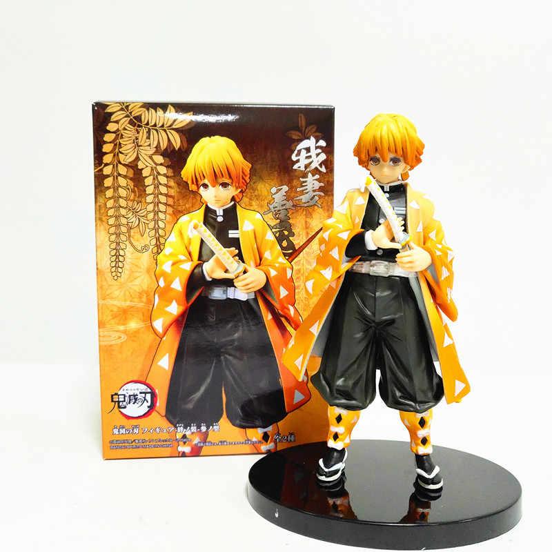 Kimetsu Tidak Yaiba Demon Slayer Zenitsu Nezuko Tanjirou Inosuke PVC Action Figure Anime Demon Slayer Mainan Brinquedos Patung-patung