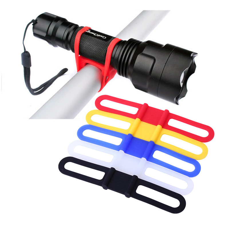 1Pcs Bike Elastic Silicone Strap Bandage Torch Fastening Band Flashlight Mount Holder Bicycle Light Holders
