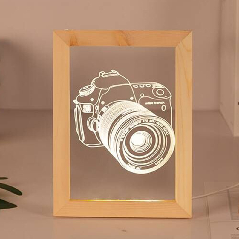 HOT-Camera Lamp 3D Visual Wooden Photo Frame Light Warm Light Night Lamp USB Atmosphere Night Light 3W