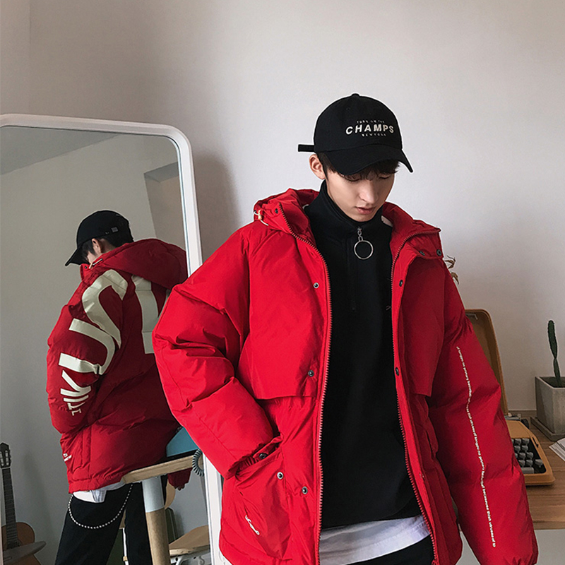 Privathinker 2020 Thick Warm Men Winter Jacket Parka Casual Loose Harajuku Mens Oversized Parkas Coats Hooded Print Red Clothes