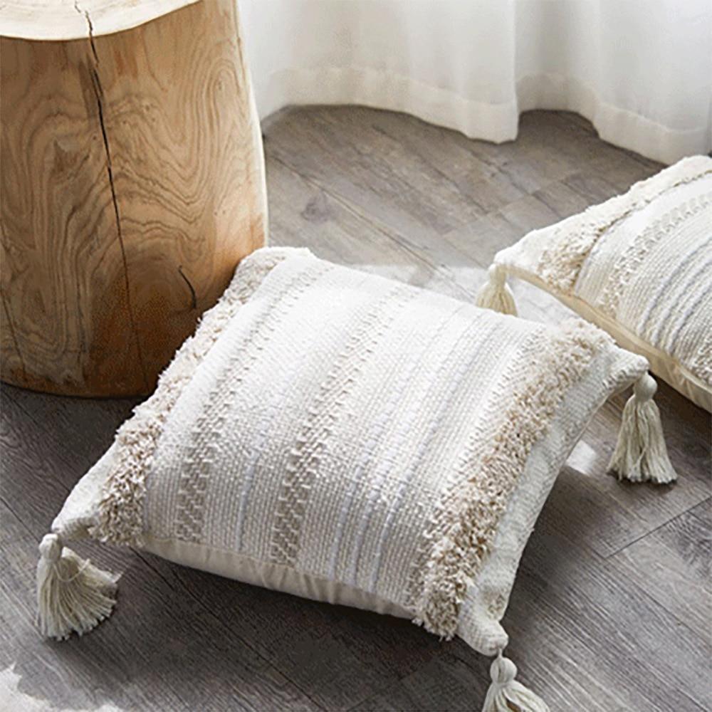 Estilo europeu quatro-canto rendas borla almofada escritório travesseiro lombar algodão tufted personalizado sofá fronha cadeira almofada