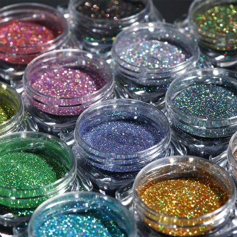 Image 2 - Holographic Nail Glitter Powder Laser Dipping Sequins Pigment Nail Art Gradient Mirror Chrome Dust Shining Polish Flake BE1028 2-in Nail Glitter from Beauty & Health