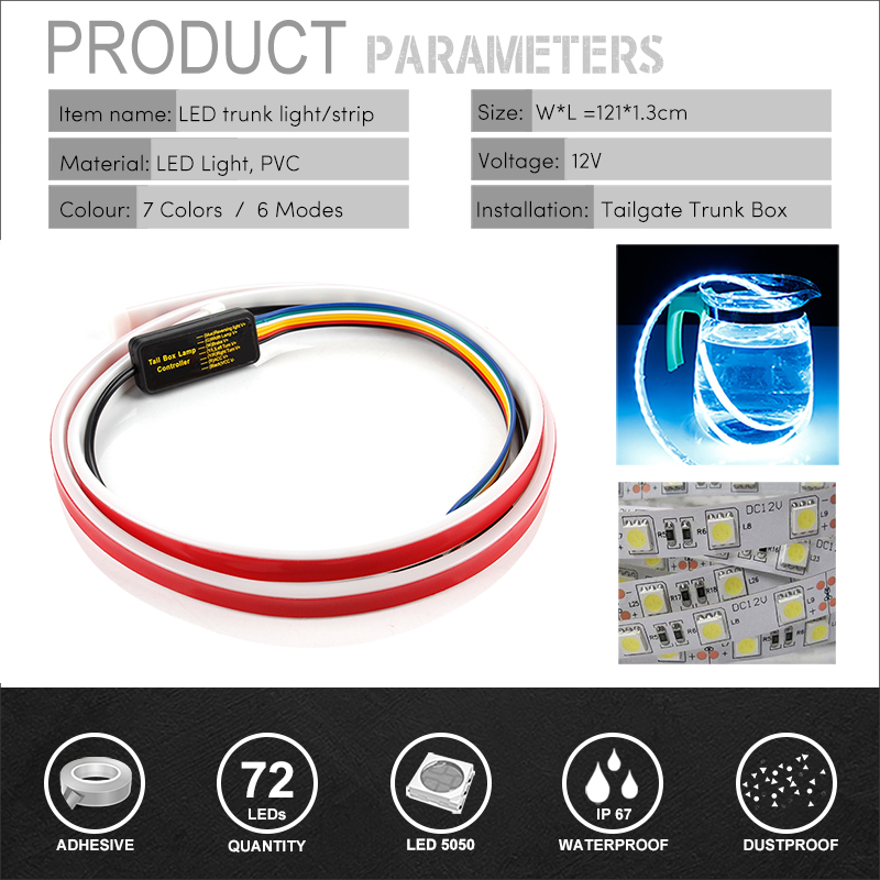 OKEEN yellow/red/blue/white 120cm /150cm Flexible drl LED Trunk light strip dynamic turn signal Rear tailgate luggage led light