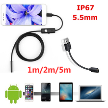 Endoscope Camera Inspection-Borescope Android 2m HD 1m with 6 LED Soft-Cable Waterproof