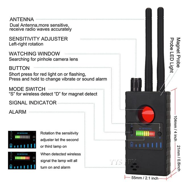Dual Antenna G528 Anti Candid Hidden Camera Detector RF Signal Secret GPS Audio GSM Mobile Phone Wifi Pinhole Cam Spy Bug Finder 3