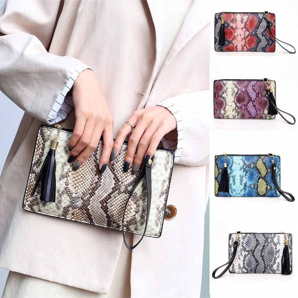 Mode femmes Serpentine impression gland pochette porte-monnaie clé pendentif sac pour femmes filles mariage embrayages sac à main chaîne