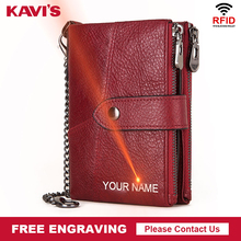 KAVIS Genuine Leather Free Engraving Wallet Women Crazy Horse Wallets Coin Purse Short Female Money Bag Rfid Walet Lady Perse
