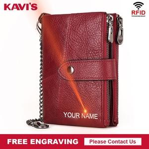 Image 1 - KAVIS hakiki deri ücretsiz gravür cüzdan kadınlar çılgın at cüzdan bozuk para cüzdanı kısa kadın para çanta Rfid cüzdan bayan Perse