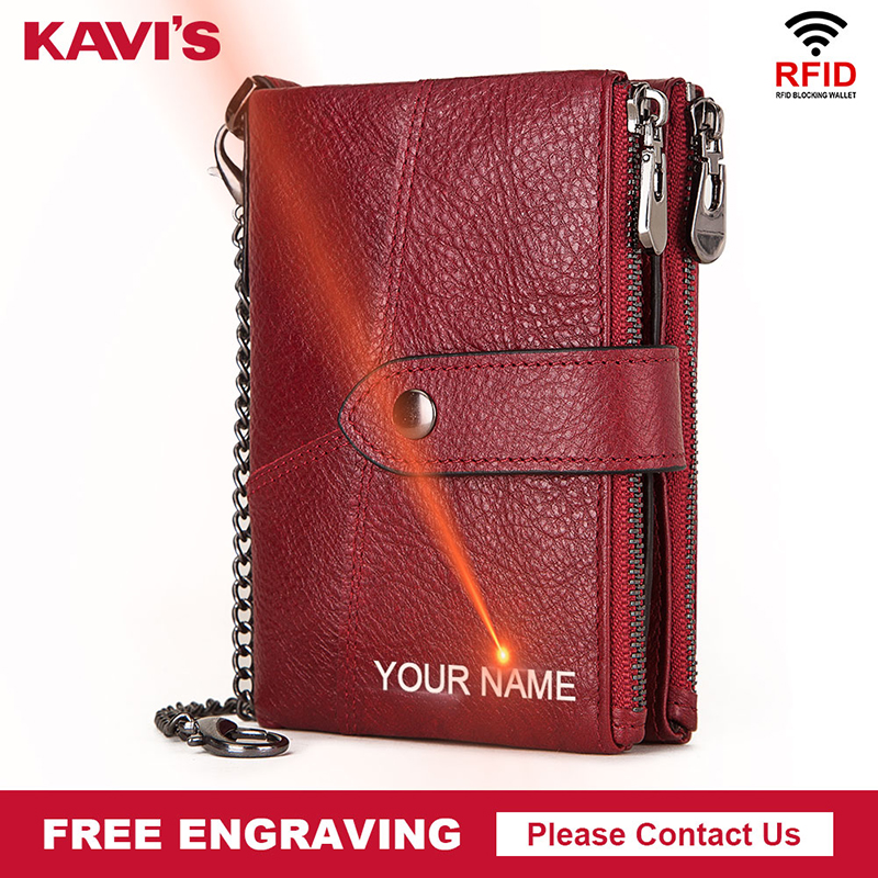 KAVIS100% Genuine Leather Free Engraving Wallet Men Crazy Horse Wallets Coin Purse Short Male Money Bag Rfid Walet Lady Perse