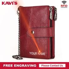 Kavis couro genuíno livre gravura carteira feminina cavalo louco carteiras bolsa da moeda curto feminino saco de dinheiro rfid walet senhora perse
